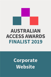 Picture: Australian Access Awards 2019 Corporate Website finalist badge.